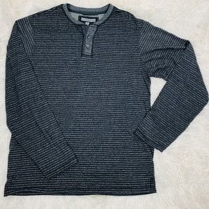 pd&c XL Long Sleeve Mens Black Gray Striped Shirt